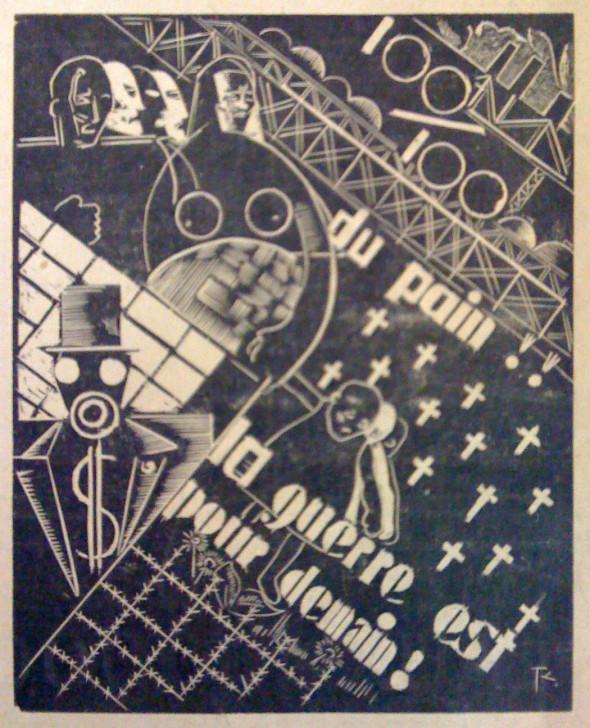 1933  Du Pain, la Guerre est pour demain, gravure sur bois