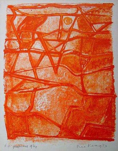 1973 Graphisme 1934, sérigraphie exposée en 1974 à Paris, au Dépôt 15 et en 1978 à Münster au Westfälische Landesmuseum, lors de l'exposition sur le mouvement «abstraction – création»