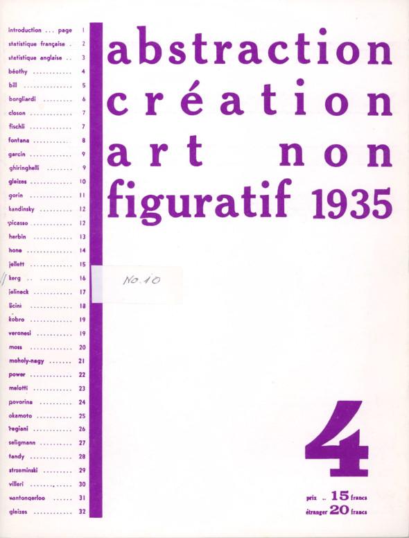 1935 Cahier d'abstraction-création no. 4 de 1935, avec une page entière de Théo Kerg