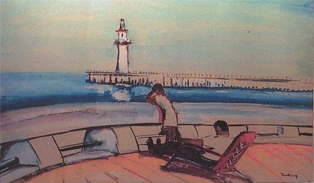 1935 A la mer, aquarelle
