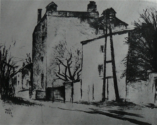 1938  Maisons à Diekirch. Dessin exposé à la Kunstausstellung Moselland en 1942 au  Kaiser Friederich Museum à Posen et au Schlossmuseum de Breslau