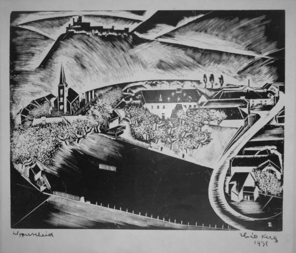 1938  Vue sur Lipperscheid, gravure sur bois
