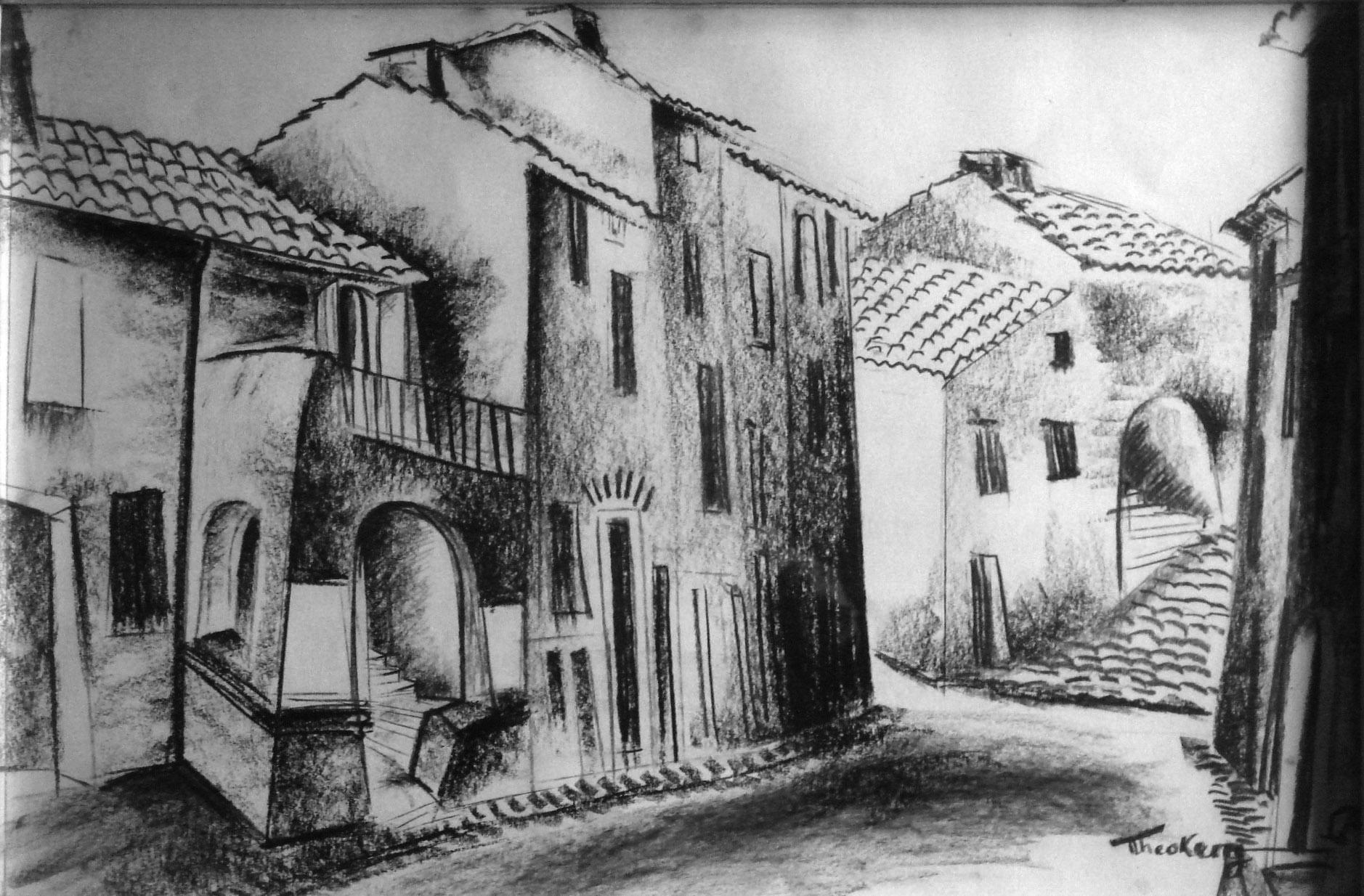 1940 Maisons à Soumon, près de Lodève, dessin fait pendant l'évacuation en 1940, 43 x  65 cm
