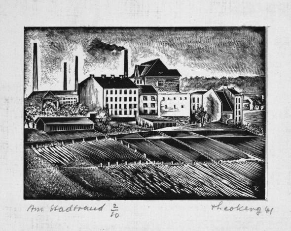 1941  Am Stadtrand, quartier Bruch à Esch-sur-Alzette, gravure sur bois