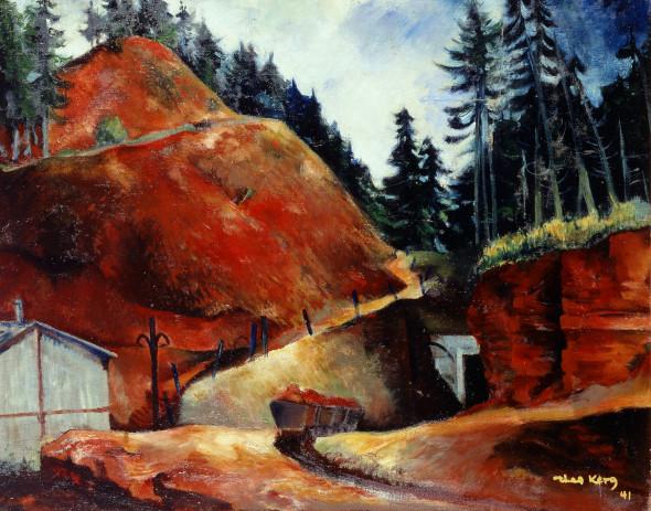 1941 Entrée d'une minière à Esch-sur-Alzette, huile sur toile