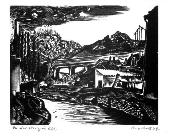 1942 Esch-Alzig, l'Alzette, gravure sur bois, 16.08