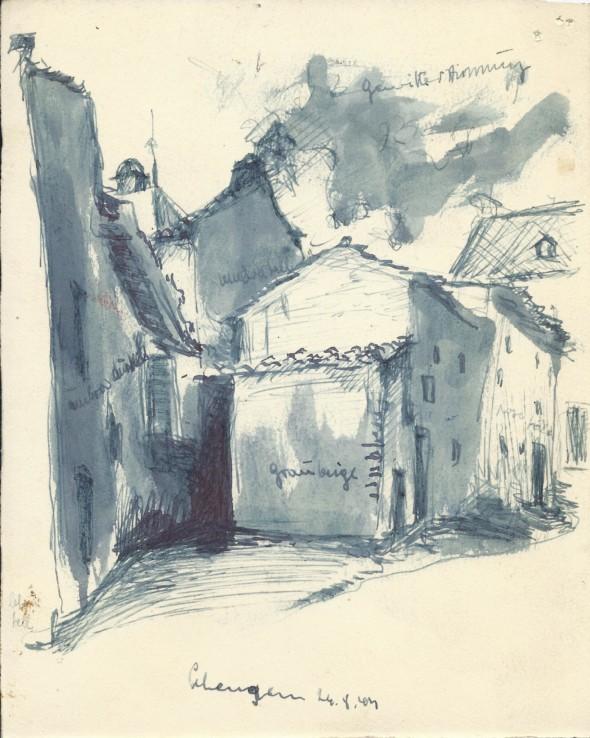 1943 Dessin d'une ruelle à Schengen, dessin à l'encre du 24.8
