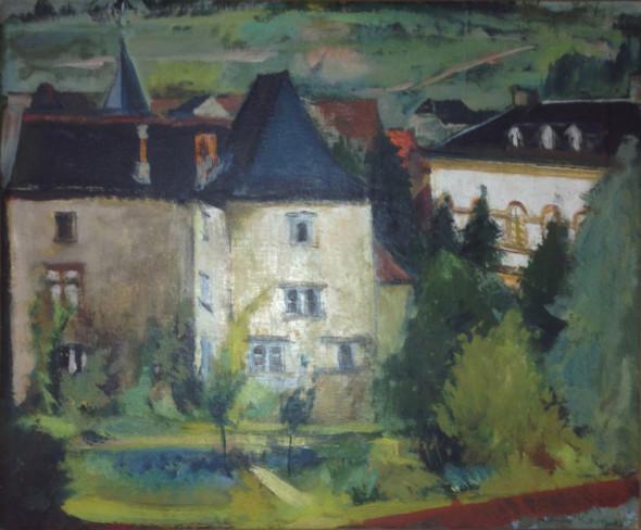 1943 Vue sur Ehnen huile sur carton 35 x 42 cm