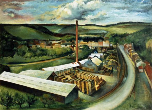 1942 Vue sur la scierie Clement à Junglinster, huile sur panneau