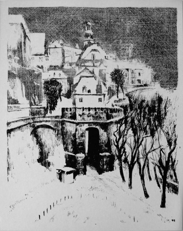 1944 Litho de la série des faubourgs de Luxembourg 3
