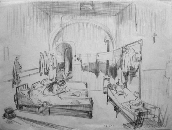 1945 A la prison du Grund, dessin au crayon du 28.1.1945