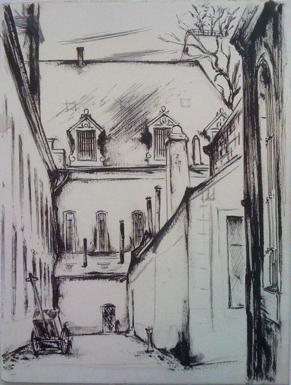 1945 Vue de la prison du Grund, dessin à l'encre sur carton