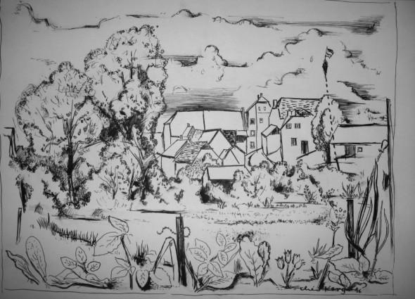 1946 Dessin pour de préparation pour le tableau, village aux environs de Diekirch