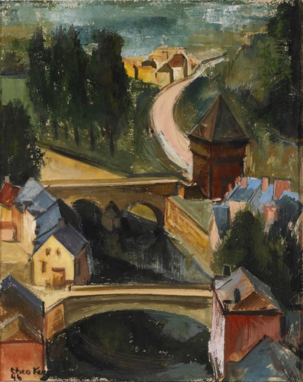 1946 Vue sur les faubourgs de la Ville de Luxembourg, gouache