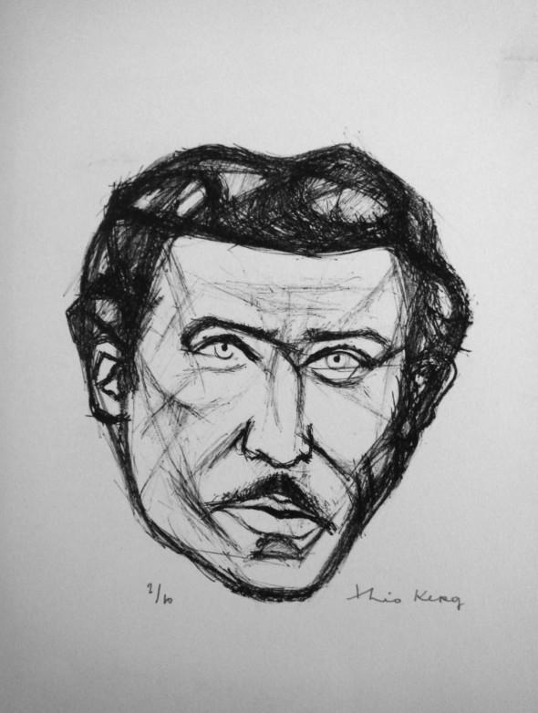 1948 Michel Ragon, membre de l'Ecole de Rochefort, dessin