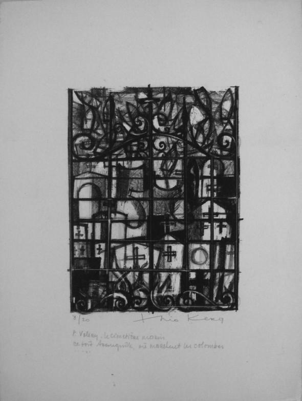 1948 Lithographie pour, Le cimetière marin, de Paul Valéry, ce toit tranquille, où marchent les colombes
