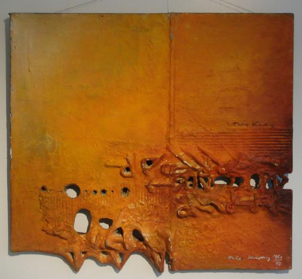 1977 Rencontre, oeuvre tactiliste sur toile, 1960-1977, 66 x 71,5 c