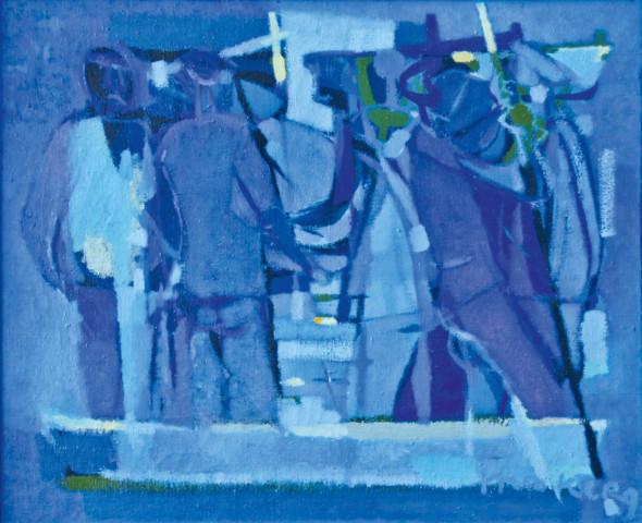 1950 Quand les pêcheurs s'en vont, huile sur toile, 46 x 54 cm