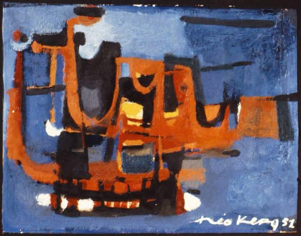 1951 Bateaux au port, huile sur carton
