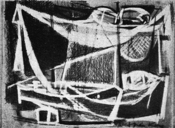 1951 Dopo la pesca, dessin, Premier Prix, section bianco e nero. Biennale internationale d'Arte Marinara, Genova