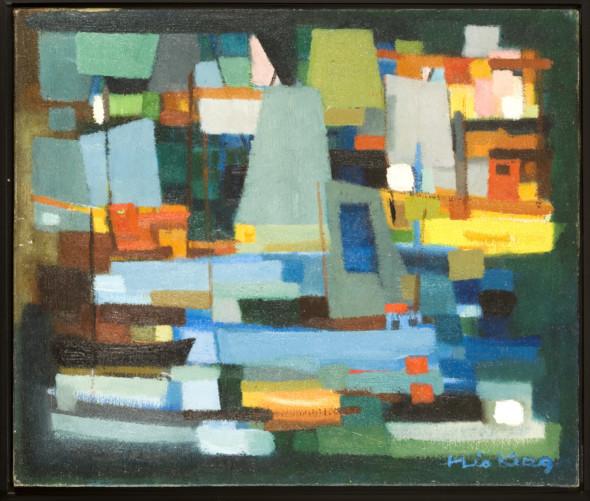 1951 Le port vert, huile sur toile, 46×55 cm, 10F, (no 4951)