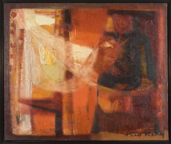 1951 Remailleuse rouge, huile sur toile, 55×46 cm, 10F, (no 7651)