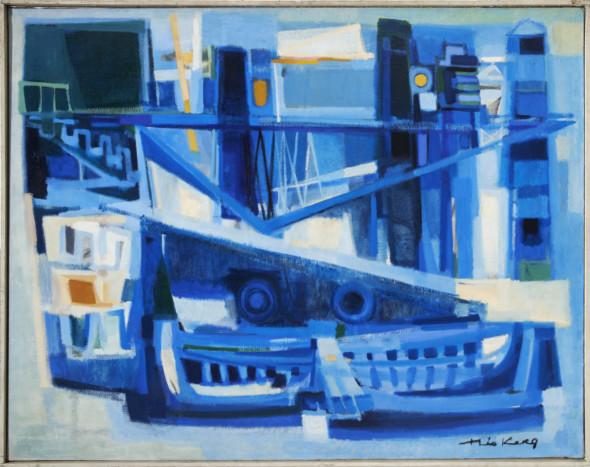 1953 L'embarcadère, huile sur toile, 114 x 146 cm, 80F, exposée en 1956 au Von der Heydt- Museum à Wuppertal, au Frankfurter Kunstkabinett, H. Bekker vom Rath, au Kunstverein Köln et à la Overbeck-Gesellschaft à Lübeck