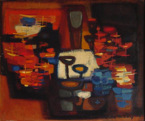 1954 La bouquetière, huile sur toile, 55×46 cm, (no 6354)