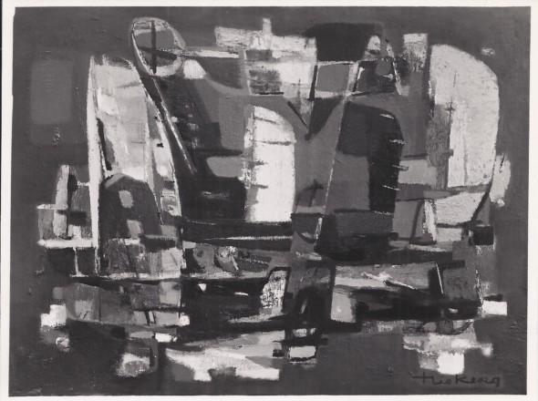 1954 Aéroport, huile sur toile 81×100 cm, 40F, (no 1454), photo Marc Vaux, Paris 4e