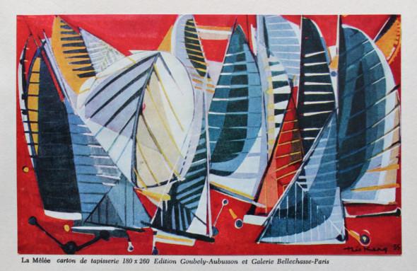 1955 La Mêlée, carton de tapisserie, 180 x 260 cm, édition Goubeley-Aubusson et Galerie Bellechasse