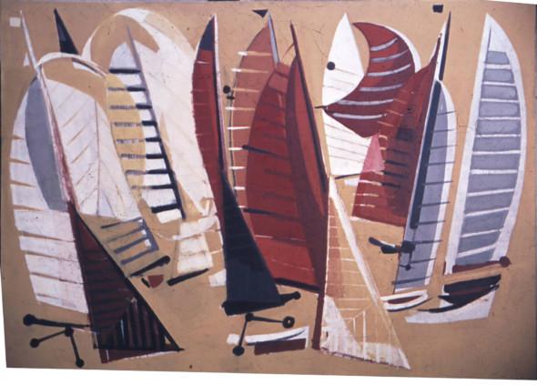 1955 Le Départ, Carton de tapisserie, 206 x 148 cm, (à l'envers)