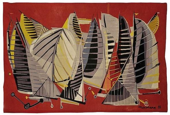 1955 La Mêlée, tapisserie, 172 x 250 cm, Edition Goubeley – Aubusson et Galerie Bellechasse. Collection Musée Dom Robert , Sorèze, Tarn