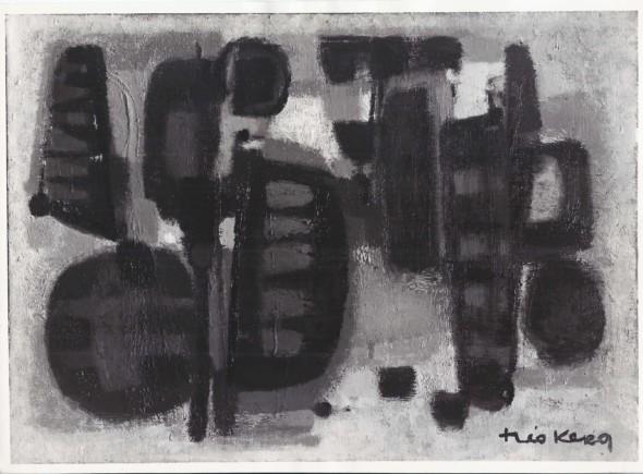 1955  Voliers, huile sur toile – exposée à la Galerie Gérard Mourgue en avril 1955