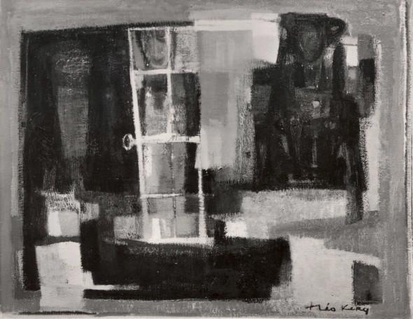 1955   Femme à la fenêtre, huile sur toile, 92 x 73 cm, exposée à la Feigl Gallery de New-York en 1956
