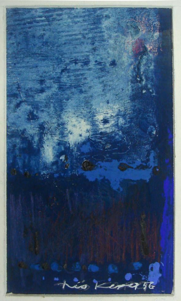 1956 Sans titre, huile sur carton, dessin tactiliste, 38×56 cm