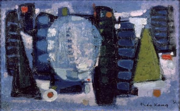 1956 Lumière rose, huile sur toile, 38 x 61 cm, (no 8856)