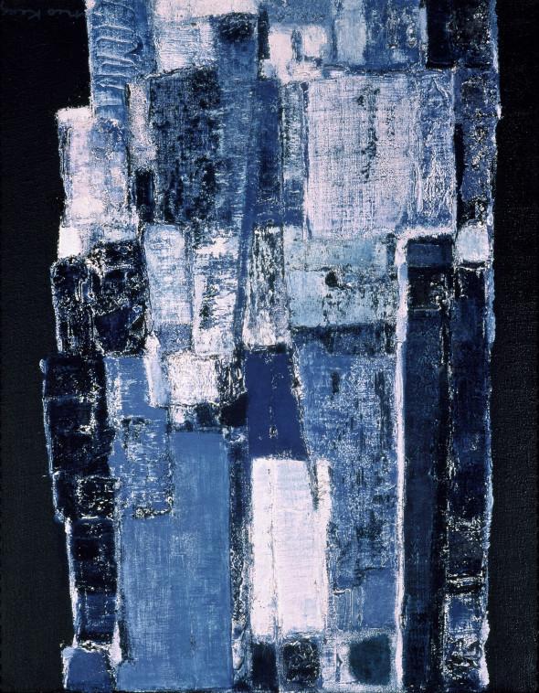 1958 Les pierres dorment debout, 1957-1958, technique mixte sur toile, 92 x 73 cm
