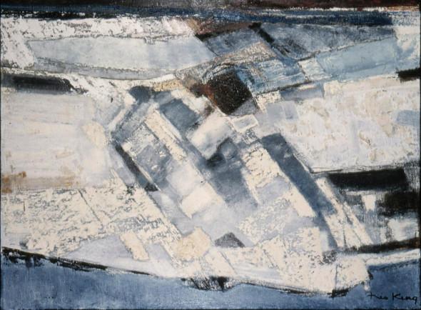 1958 Structures colorées II, technique mixte sur toile