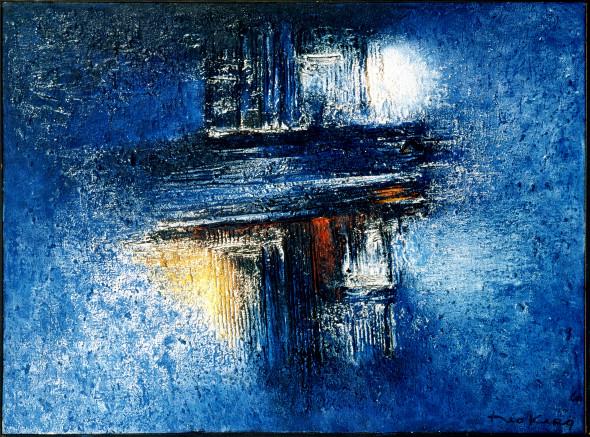 1960 Crucifié, œuvre tactiliste sur toile, 97×130 cm