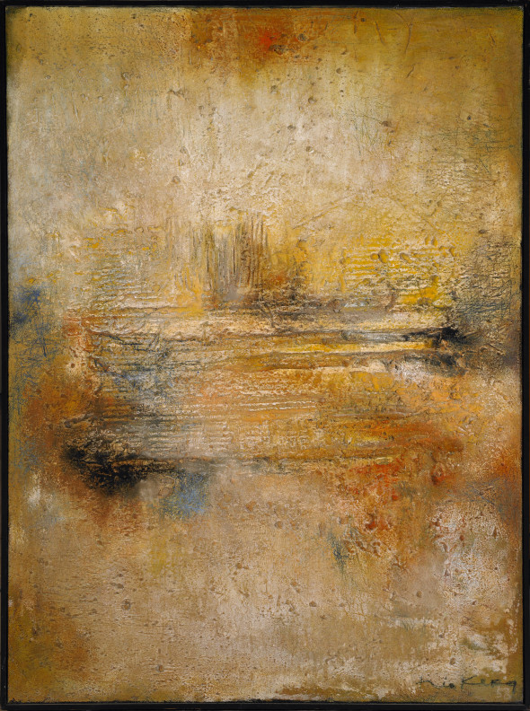 1961 Impact, oeuvre tactiliste sur toile, 97 x 130 cm, exposée au Musée National d'Histoire et d'Art (MNHA) en 2013-2014