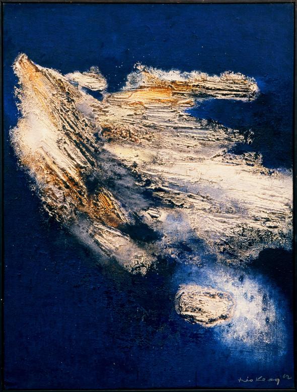 1962 Envol, oeuvre tactiliste sur toile, 60F, 130 x 97 cm (no 662)