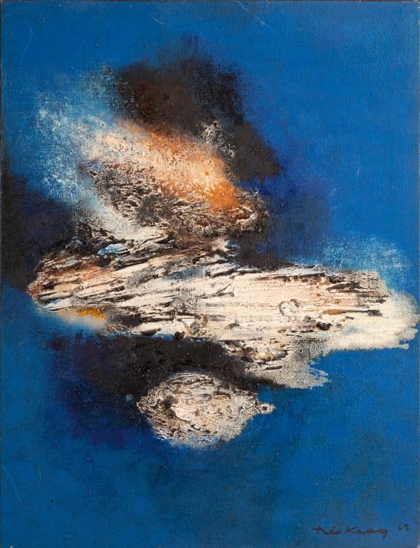 1962 Météor, oeuvre tactiliste sur toile, 116 x 89 cm, collection Musée Théo Kerg Schriesheim