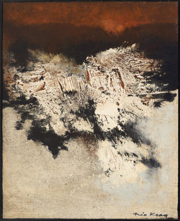 1962 En novembre, oeuvre tactiliste sur toile, 81 x 65 cm, exposée au Musée National d'Histoire et d'Art (MNHA) en 2013-2014
