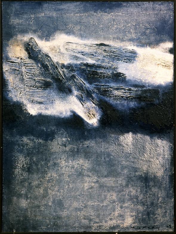 1962 Dans les Alpilles, oeuvre tactiliste sur toile, 60 x 73 cm