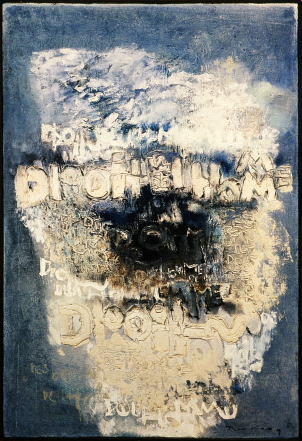 1963 Printemps à Hiroshima, œuvre tactiliste, 1956-1963, (195 x 130 cm) exposée au Cercle-Cité en 2013-2014