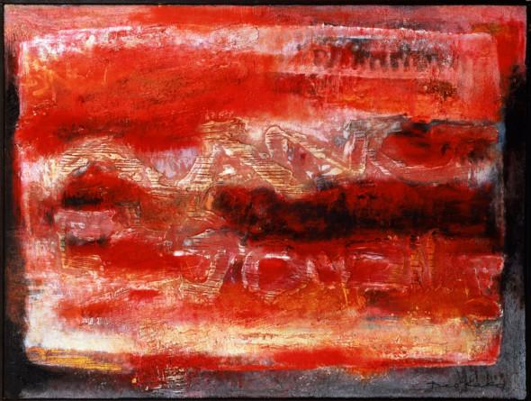 1963 La journée qui saigne, oeuvre tactiliste sur toile, 97 x 130 cm