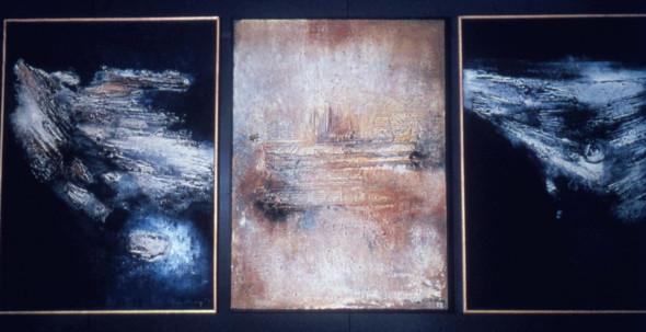 1965 Exposition à Kassel des 3 tableaux tactilistes sur toile, Envol 130×97 cm, Impact 130×97 cm, et Lumière du Nord 130x97cm