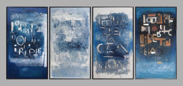 1965 Chant de la liberté (1-4), œuvre tactiliste sur 4 panneaux, 1964-1965, 4 x 90 x 160 cm, exposées au Cercle-Cité en 2013-2014
