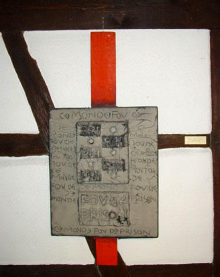 1967 Ce monde fou de prison, 1963-1967, œuvre tactiliste sur toile avec construction en bois, 119 x 54 cm, collection Musée Théo Kerg Schriesheim-Heidelberg