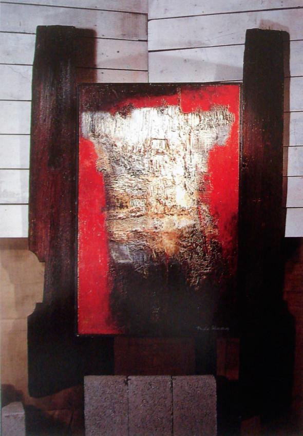 1967 Icare, œuvre tactiliste sur toile encadrée de planches calcinées, 1961-1967, 183 x 115 cm, collection Musée Théo Kerg Schriesheim